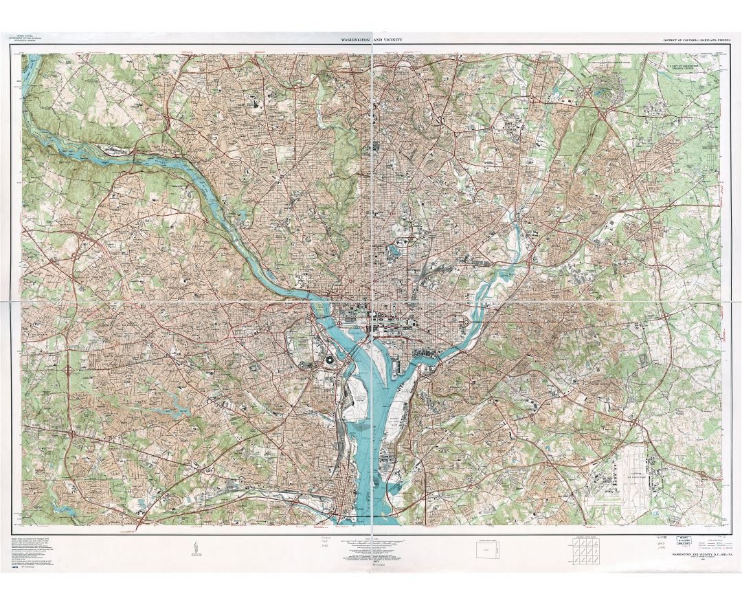Maps of washington dc detailed map of washington dc city in large scale detailed topographical map of washington and vicinity district of columbia maryland sciox Choice Image