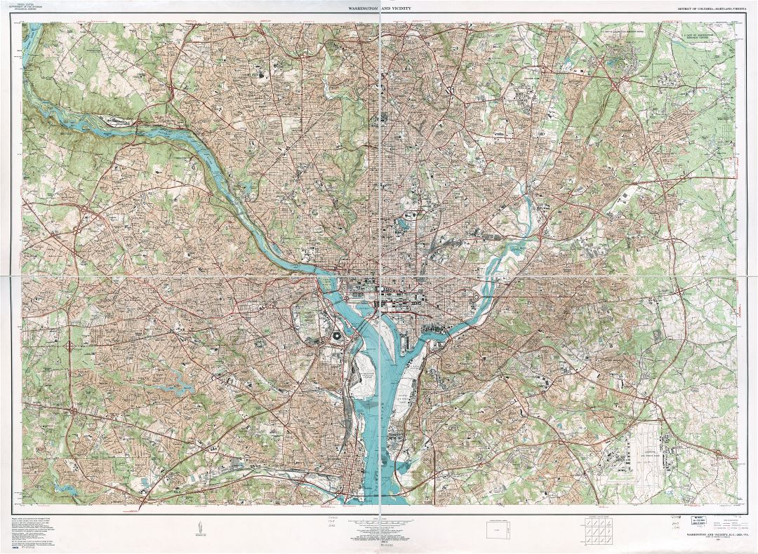 Large scale detailed topographical map of Washington and vicinity, District of Columbia, Maryland, Virginia - 1965