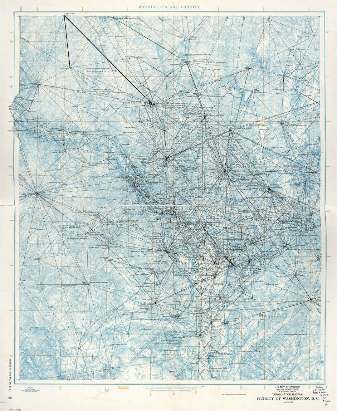 Large scale detailed triangulation diagram map of vicinity of Washington D.C. - 1962