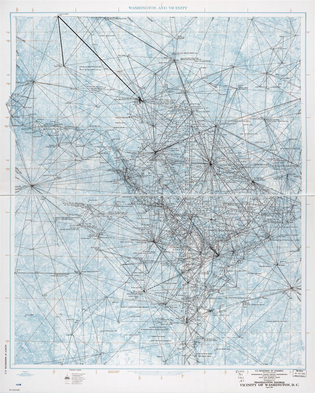 Large scale detailed triangulation diagram map of vicinity of Washington D.C. - 1966