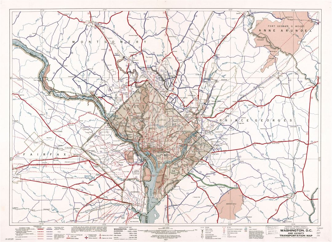 Large Scale Detailed Washington D C And Vicinity Transportation Map