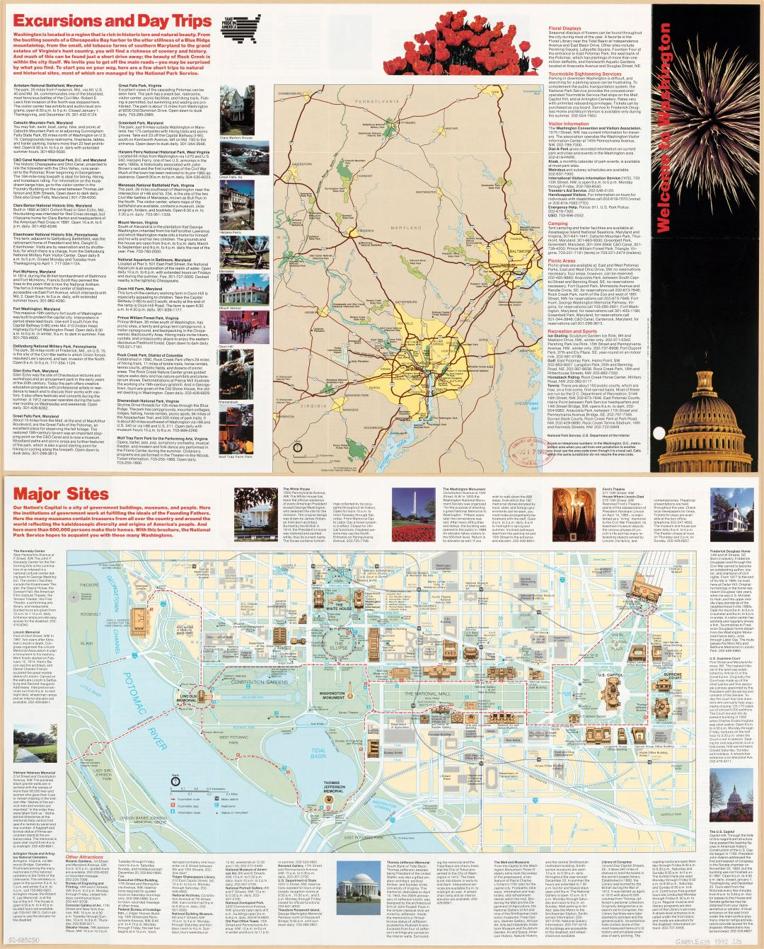 Large scale detailed Washington DC tourist map - 1992