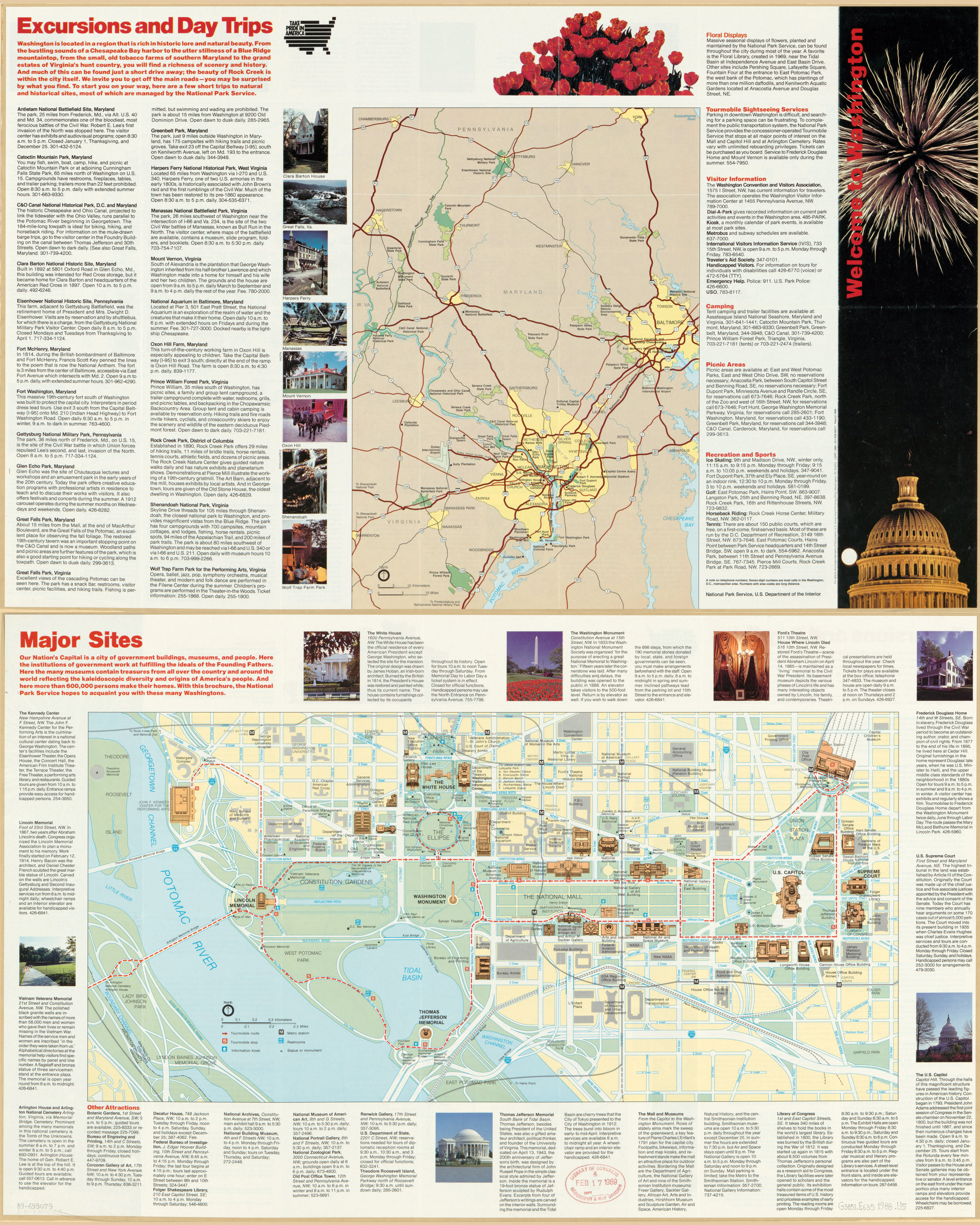 Large scale detailed Washington DC travel map 1988 Washington