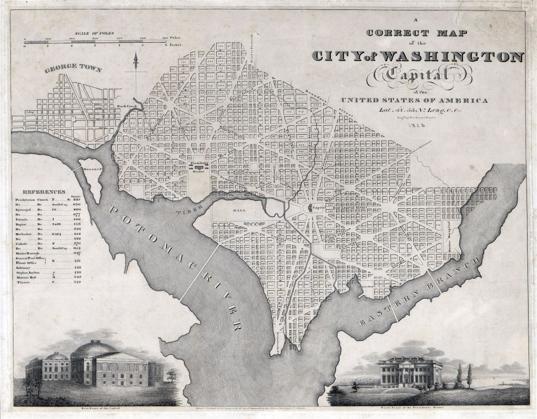Large scale old map of the city of Washington - 1820