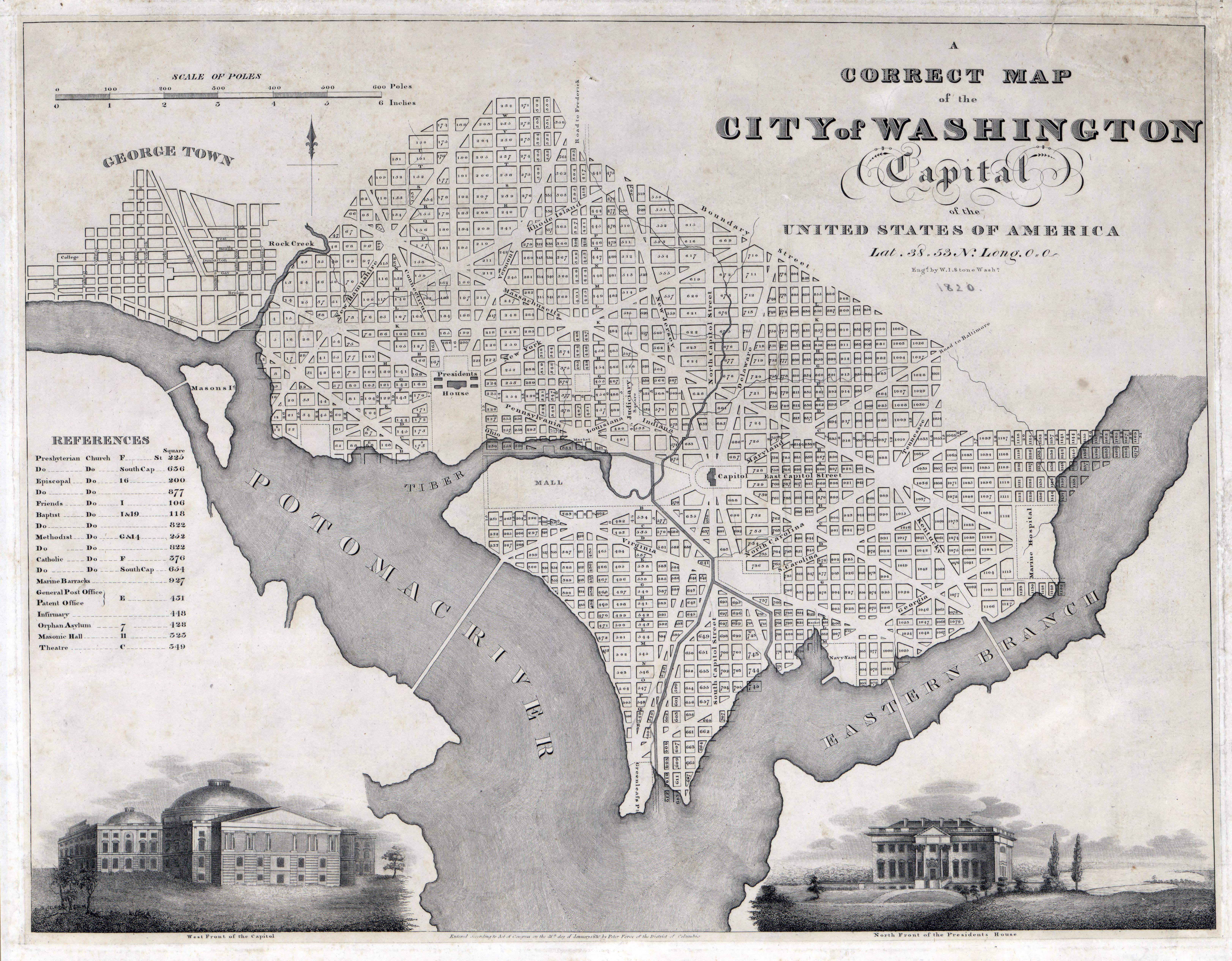 Map Of America 1820.Large Scale Old Map Of The City Of Washington 1820 Washington