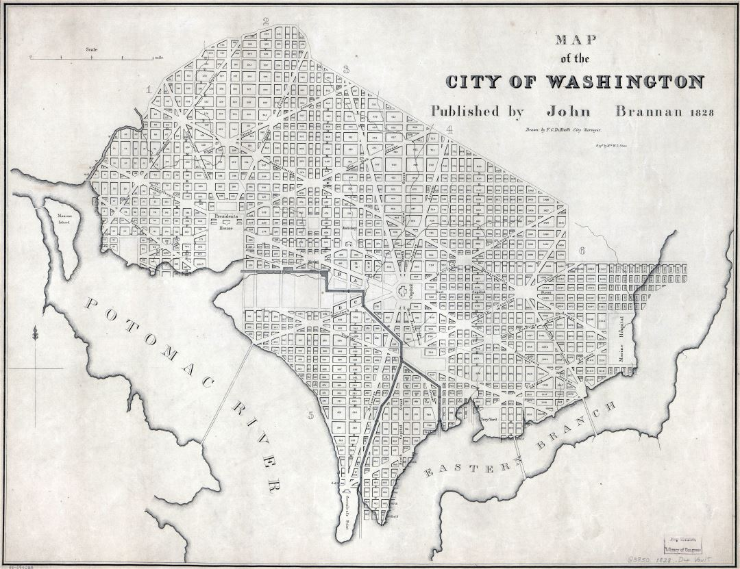 Large scale old map of the city of Washington - 1828