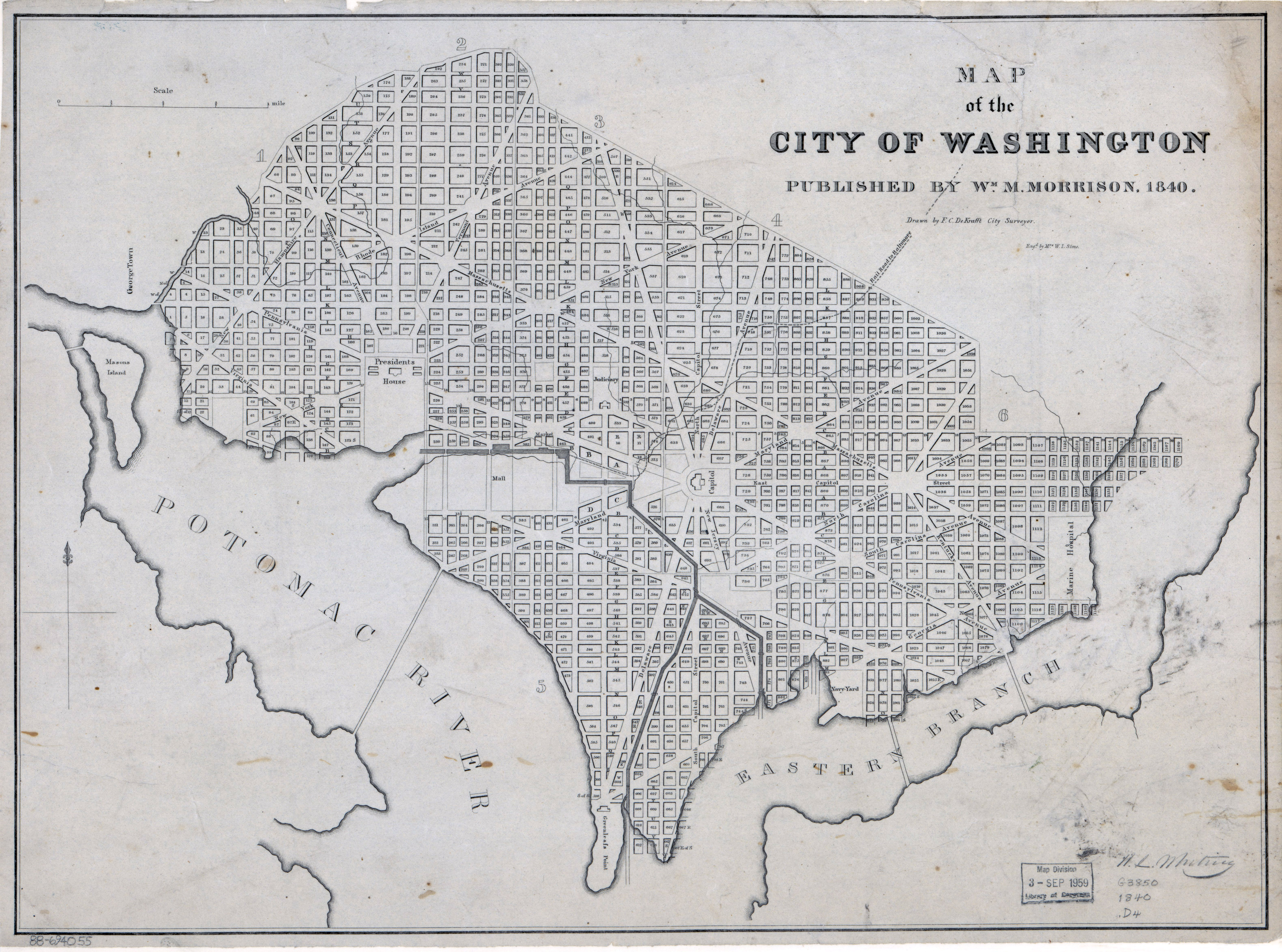 Large Scale Old Map Of The City Of Washington Dc 1840 Washington - Us-map-1840