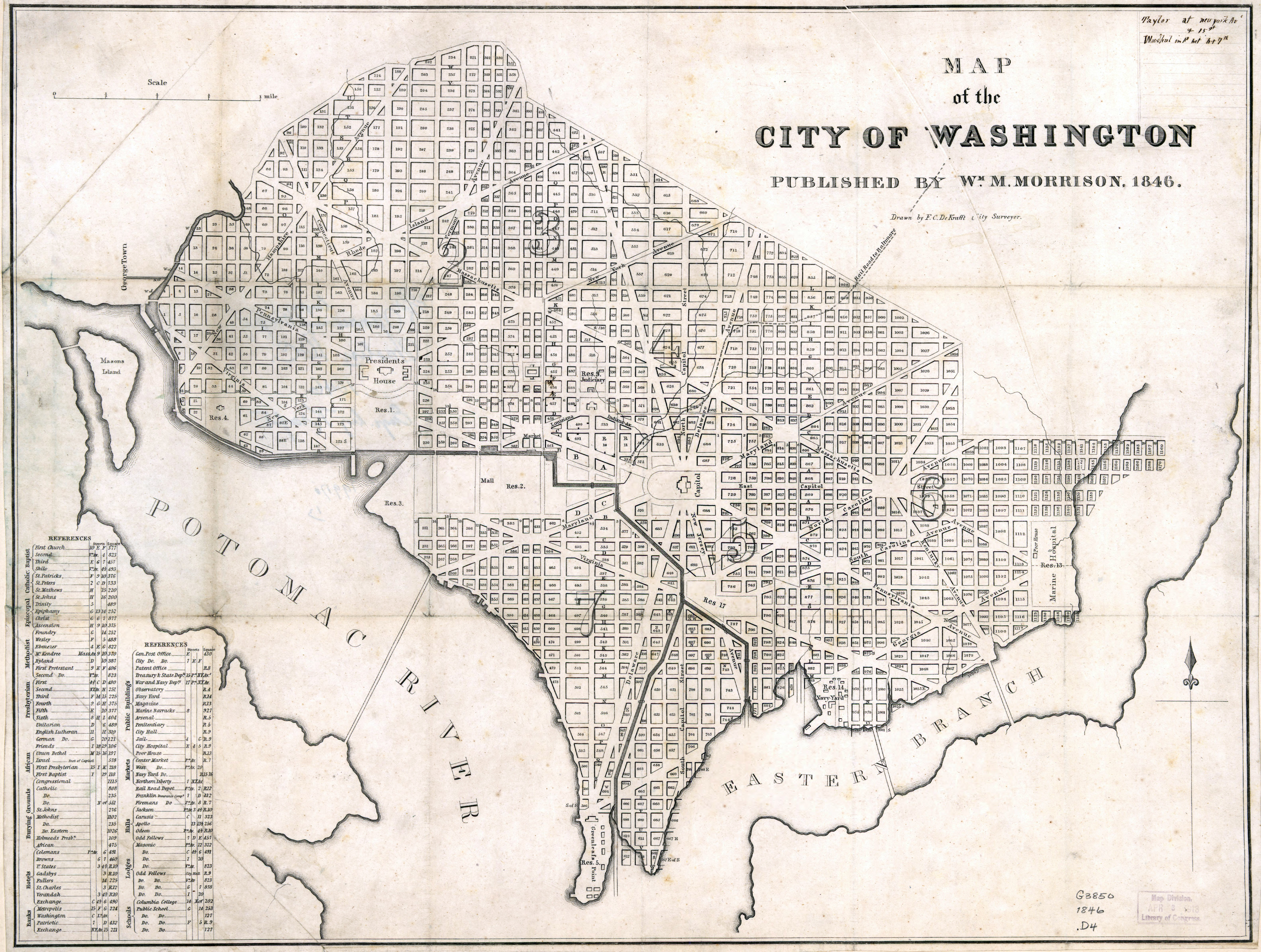 Large Scale Old Map Of The City Of Washington Dc 1846