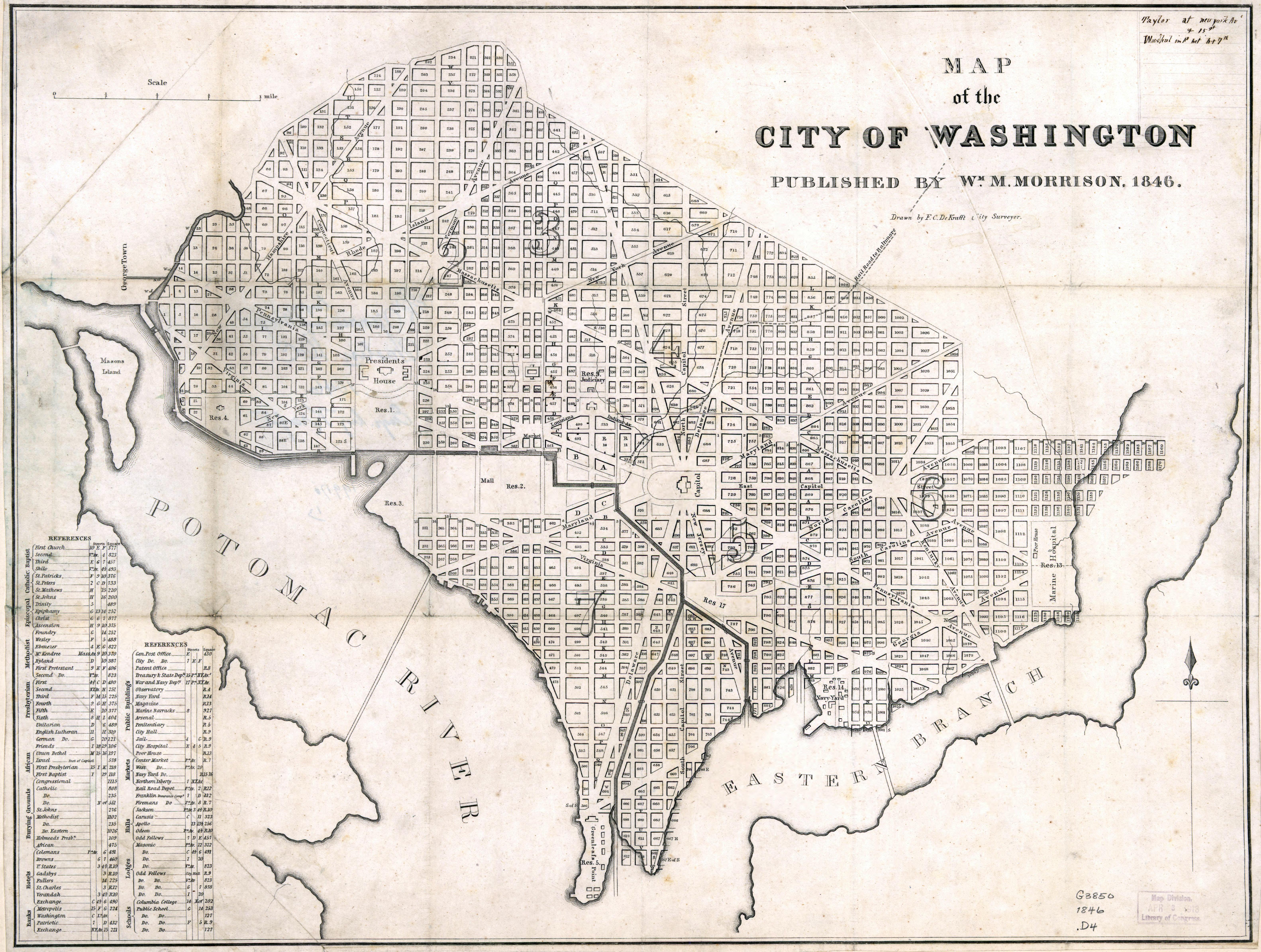 Large scale old map of the city of Washington DC - 1846 | Washington on