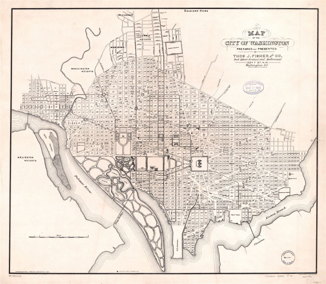 Large scale old map of the city of Washington D.C. - 1884