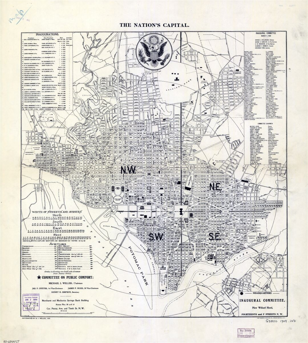Large scale old map of the Nation's Capital Washington D.C. - 1909
