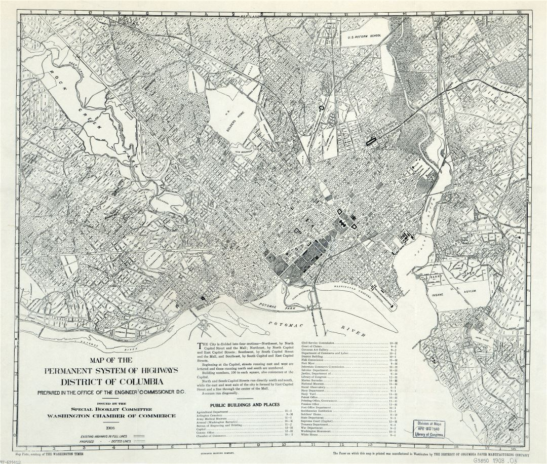 Large scale old map of the permanent system of highways of District of Columbia - 1908