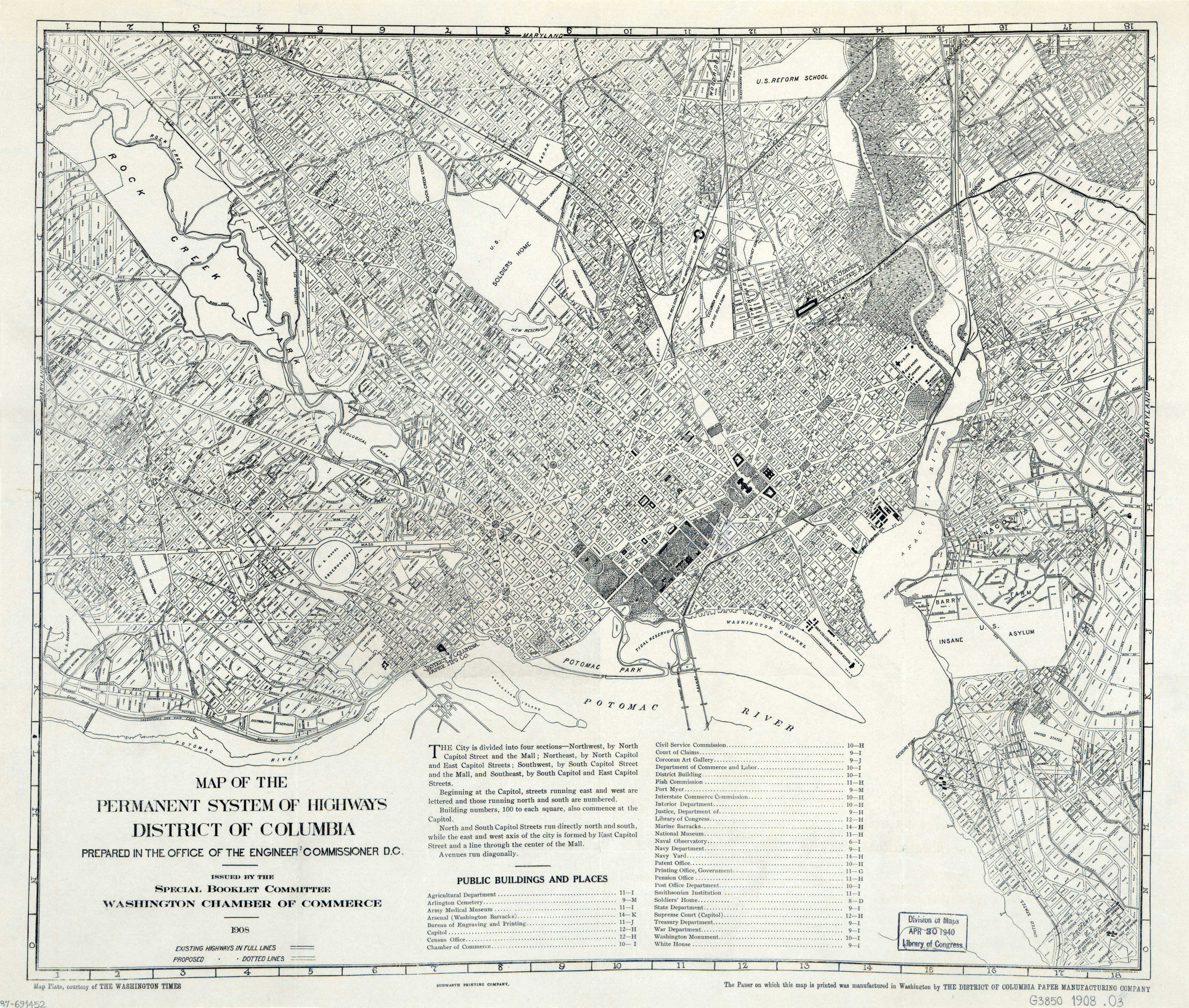 Large Scale Old Map Of The Permanent System Of Highways Of - Us map 1908