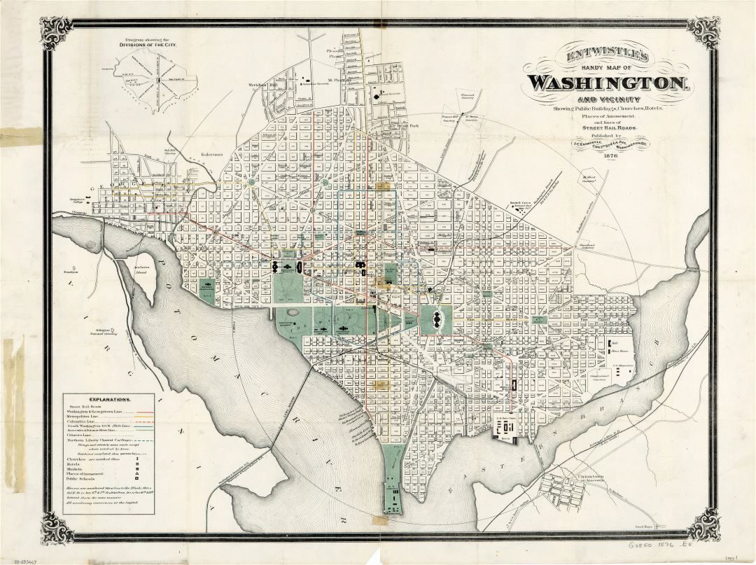 Large scale old map of Washington and vicinity - 1876