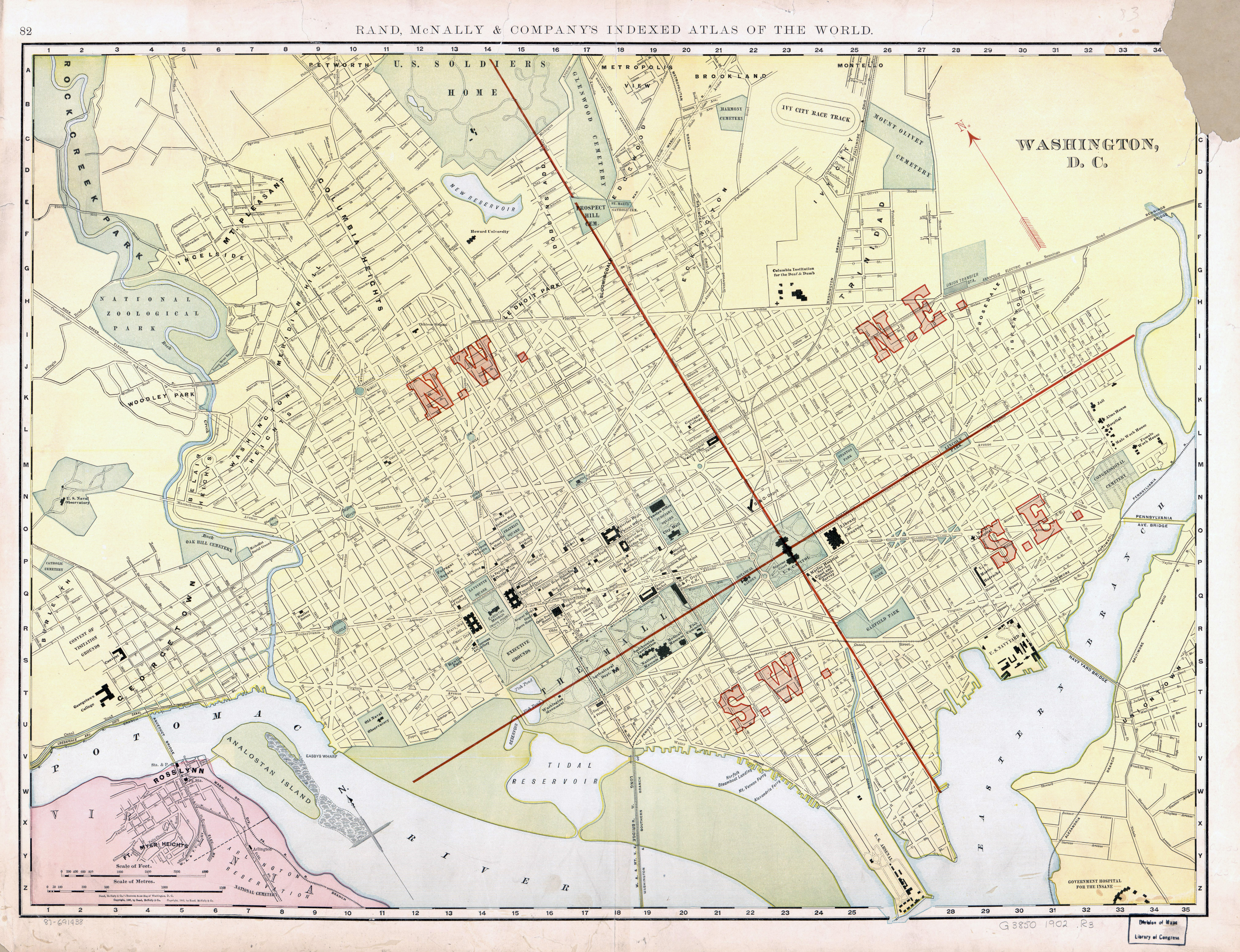 Large scale old map of Washington DC with roads 1902