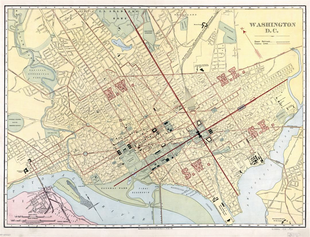 Large scale old map of Washington D.C. with roads - 1910