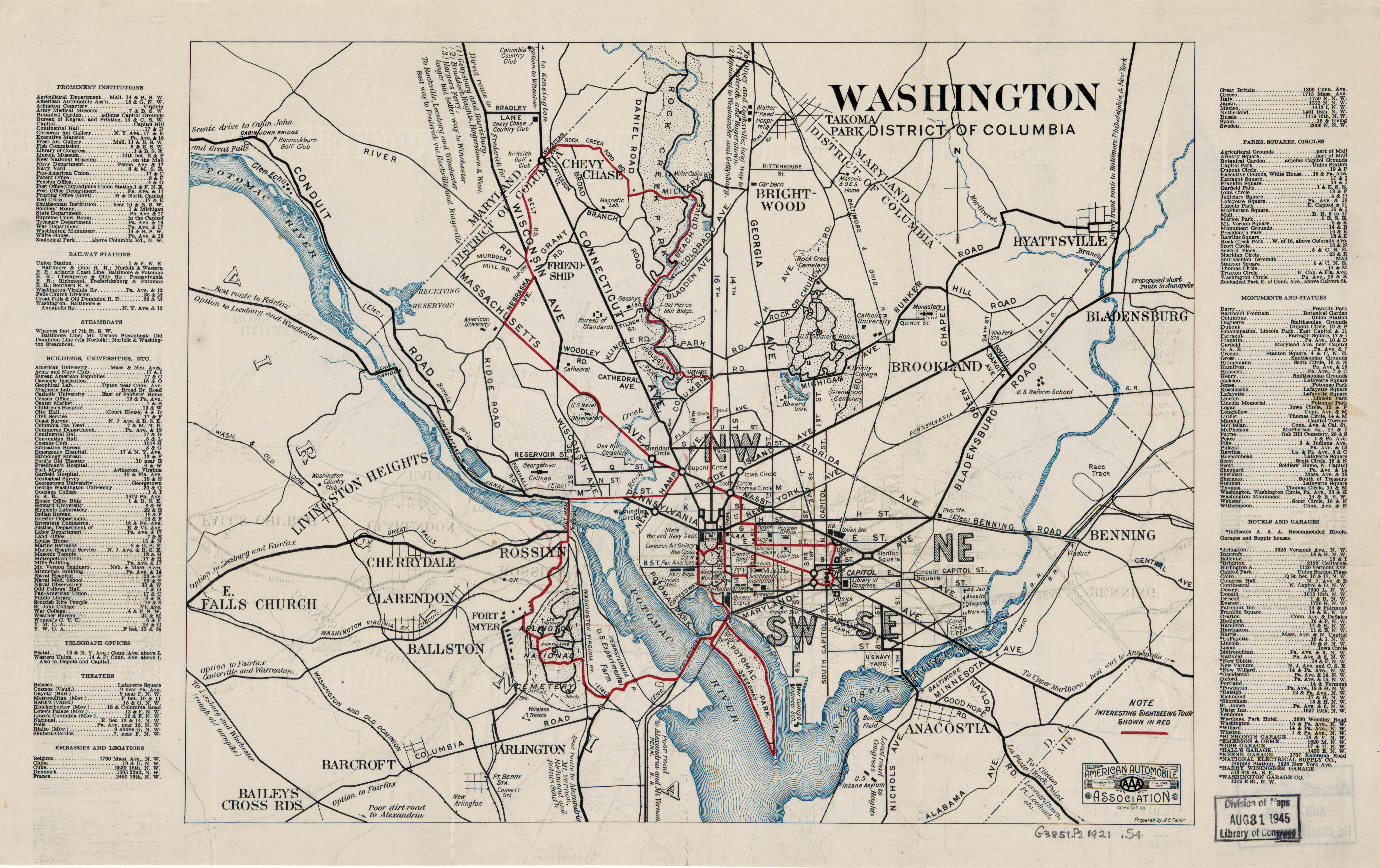 Large scale old map of Washington District of Columbia 1921