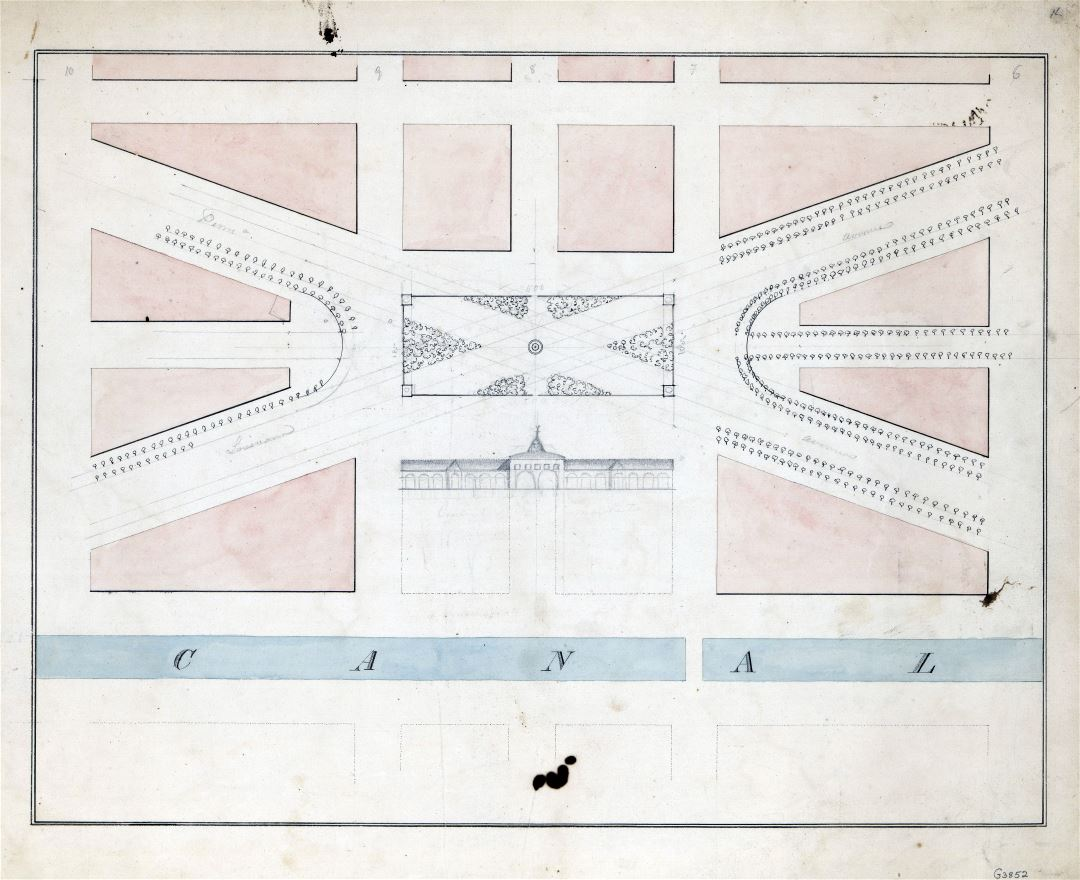 Large scale old plan of the center market and surrounding squares, Washington D.C. - 1820