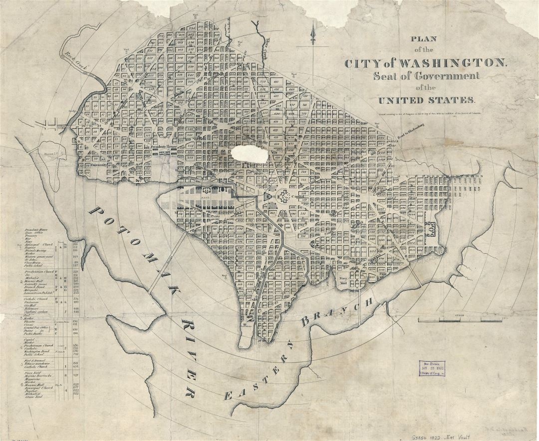Large scale old plan of the city of Washington - 1822