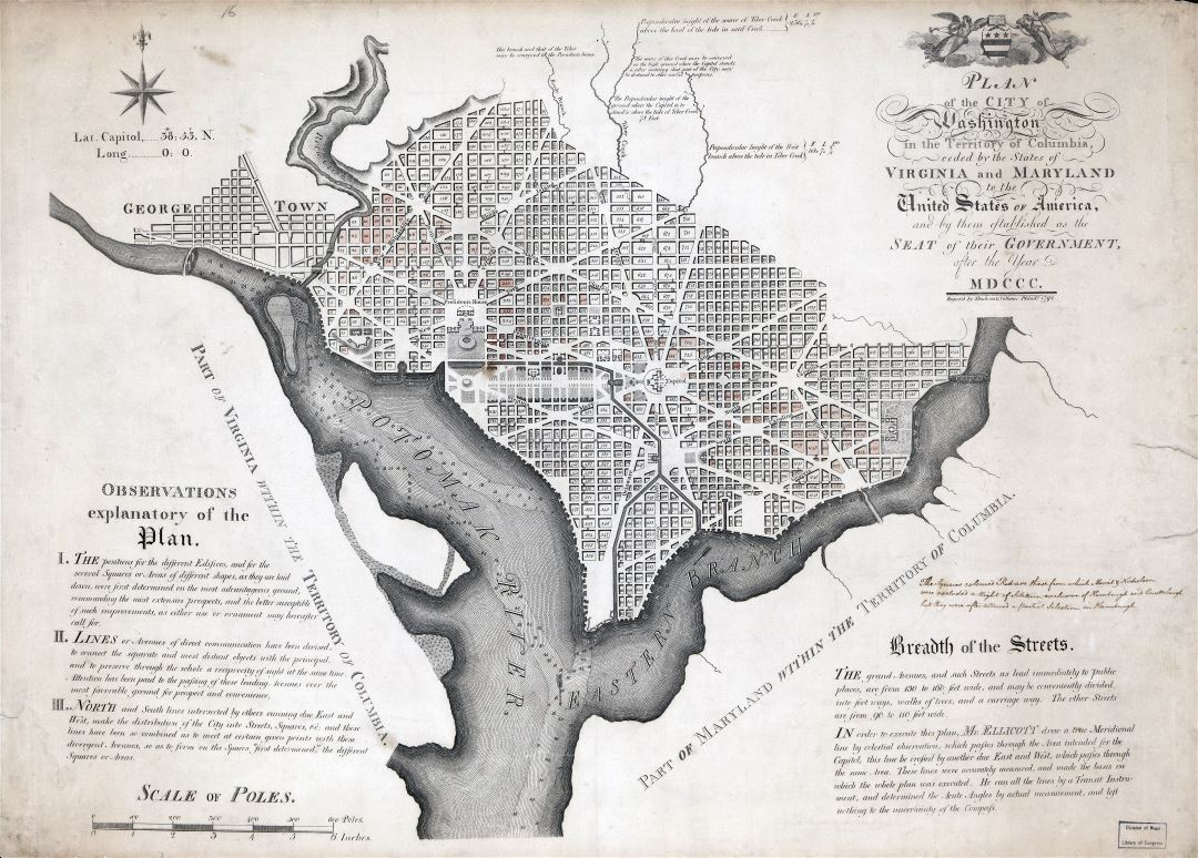 Large scale old plan of the city of Washington in the territory of Columbia - 1792