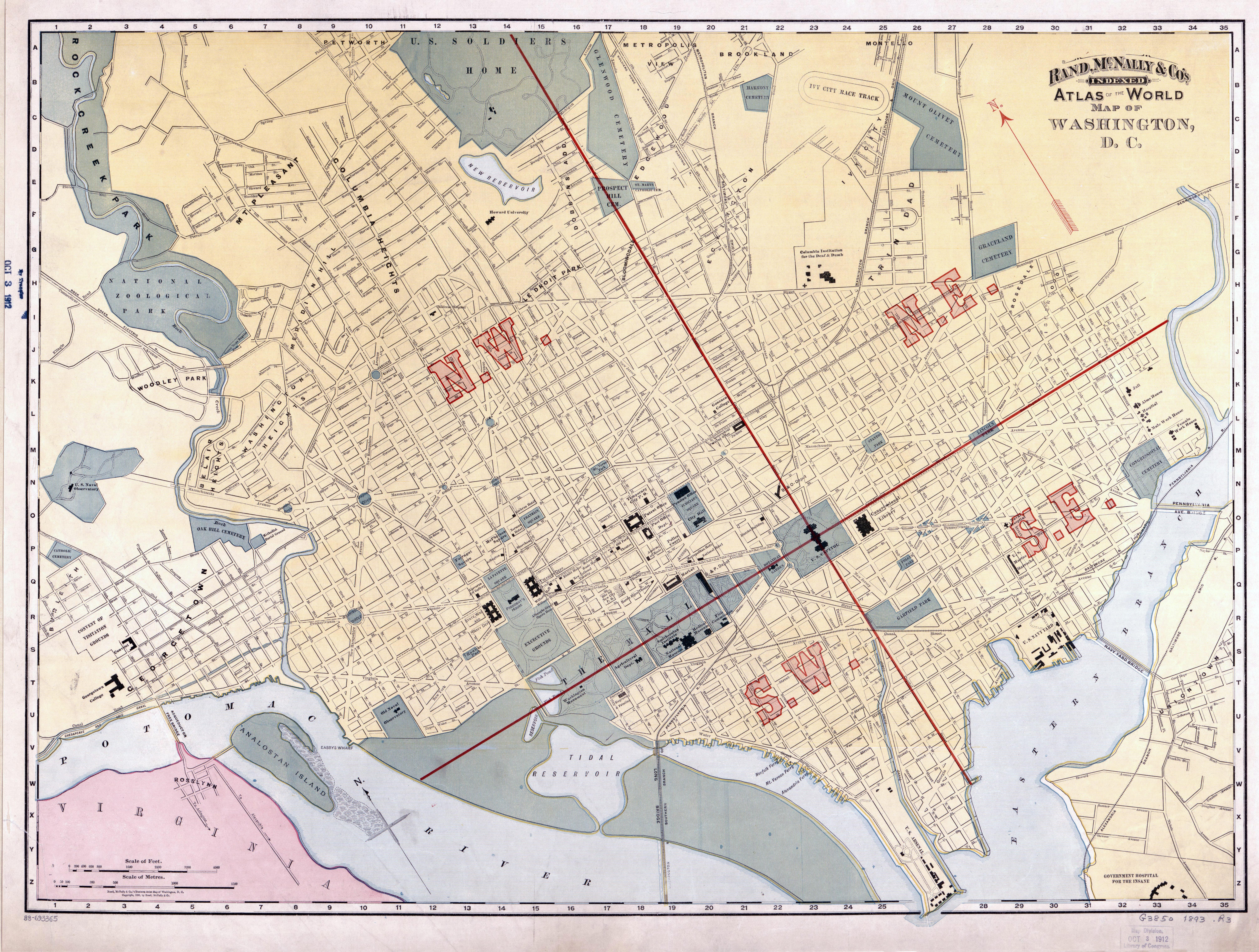Large scale old Rand McNally Co map of Washington DC 1893