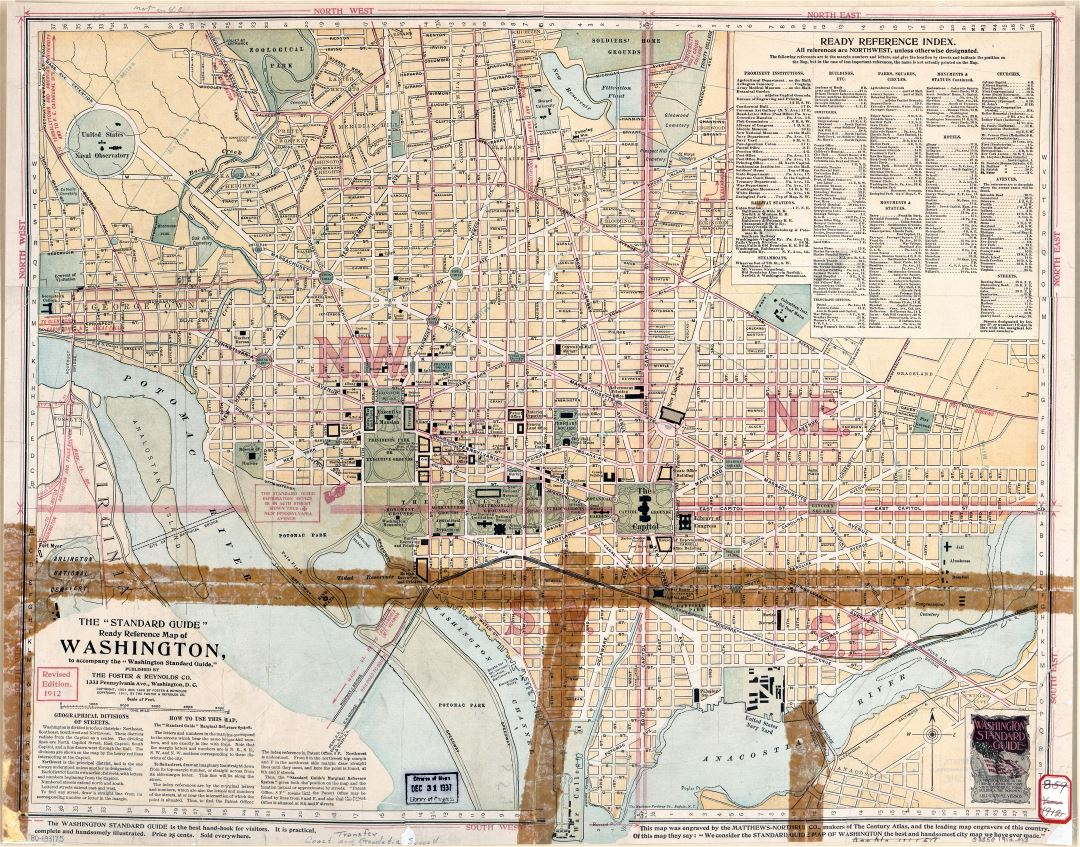 Large scale old standard guide map of Washington DC - 1911