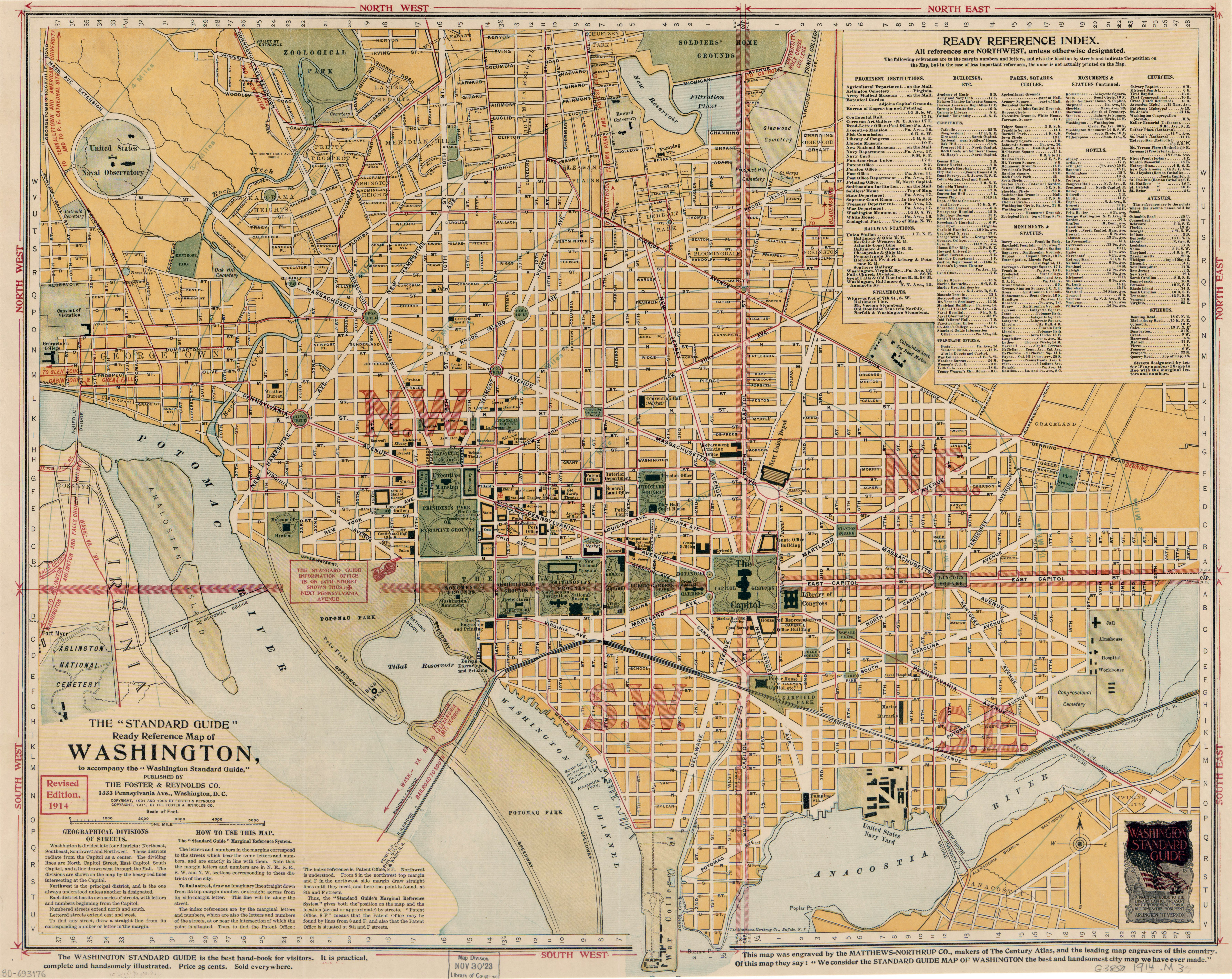 Large scale old standard guide map of Washington DC 1914