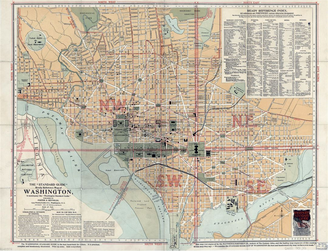 Large scale old the standard guide ready reference map of Washington - 1901