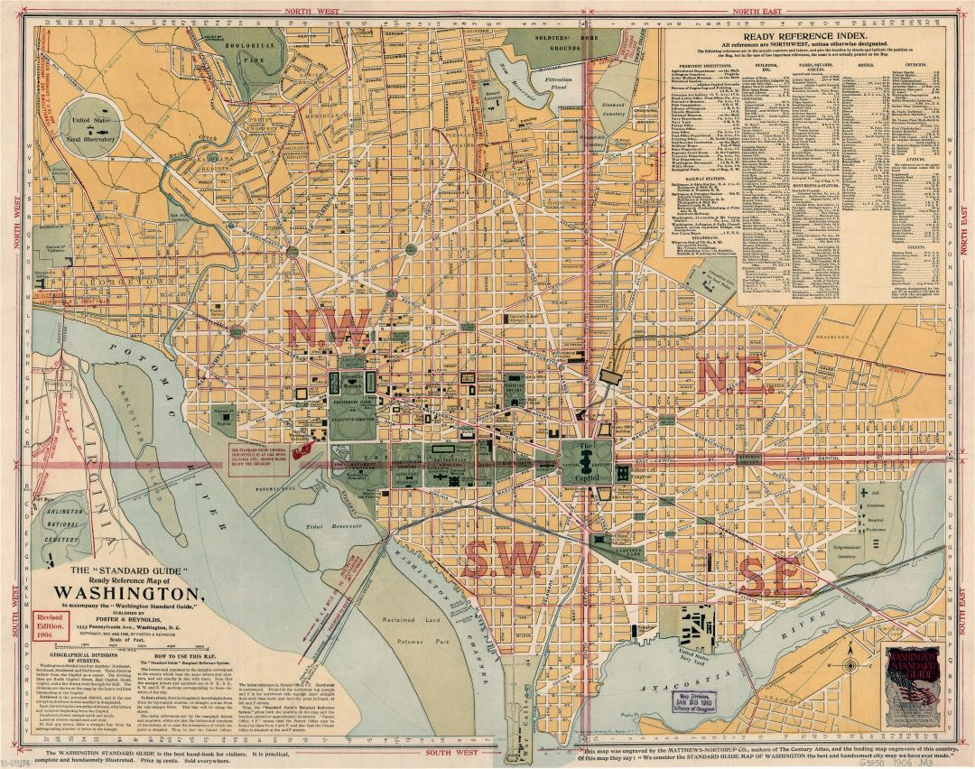 Large scale old the standard guide ready reference map of Washington - 1906
