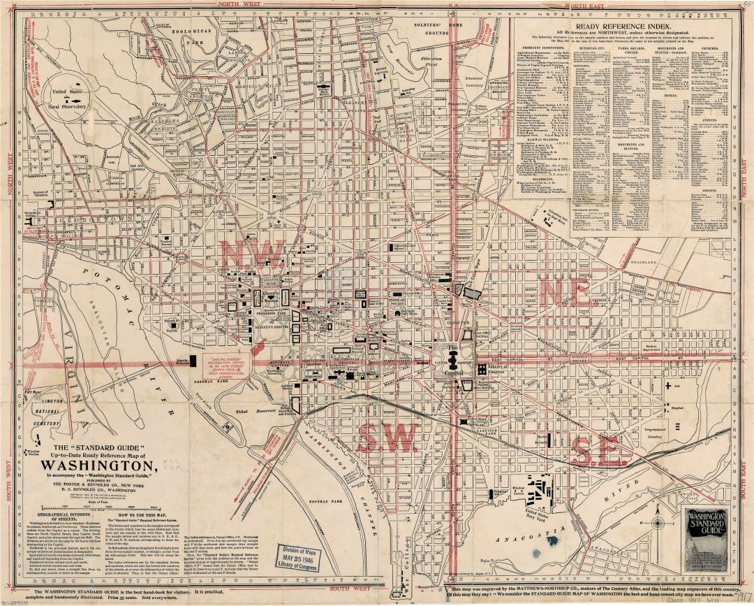 Large scale old Washington D.C. standard guide map - 1917