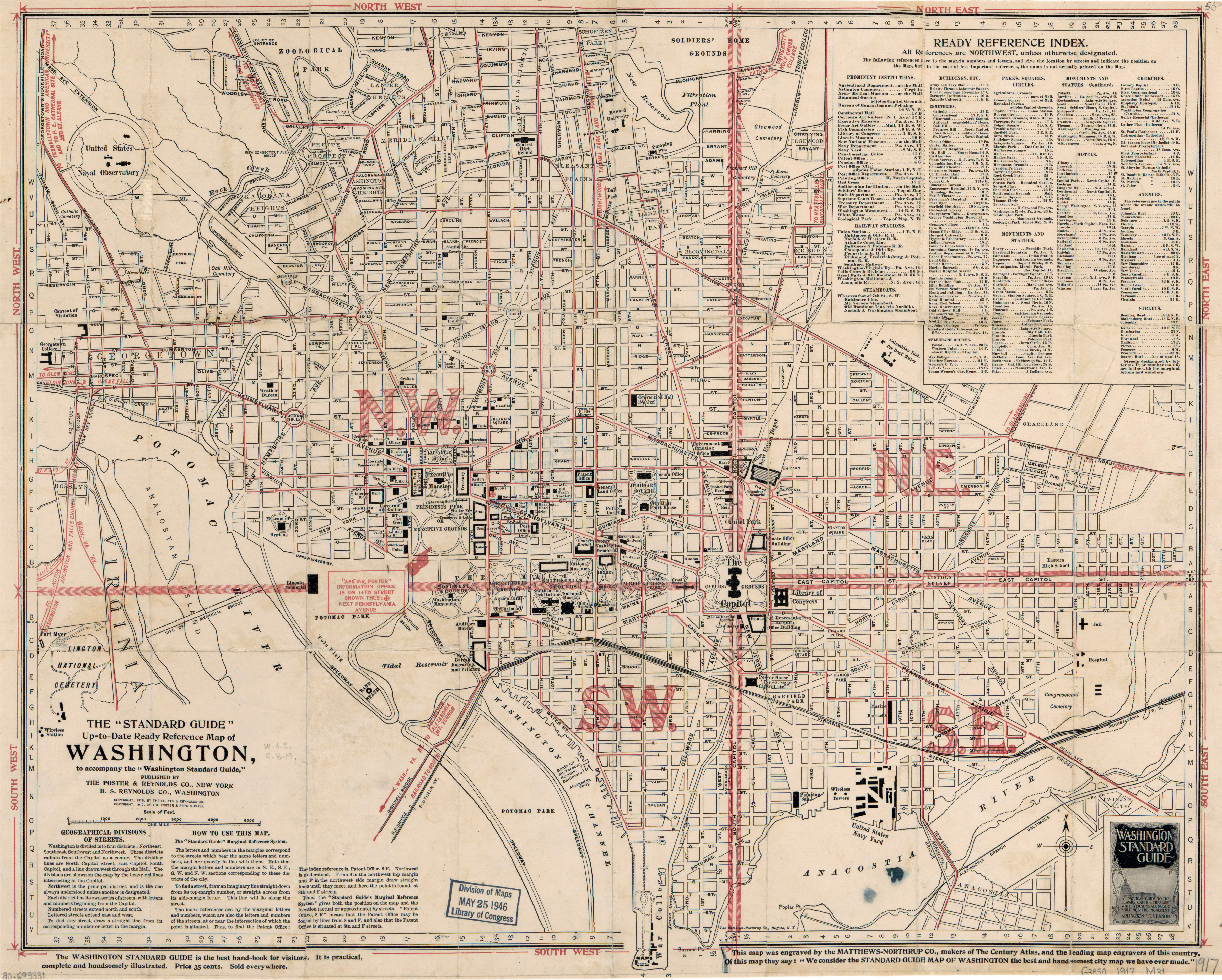 Large Scale Old Washington D C Standard Guide Map 1917