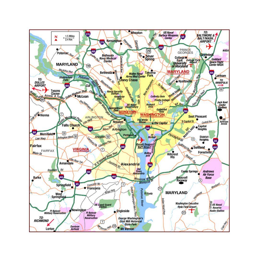 Washington D.C. area highways map | Washington D.C. | USA (United ...