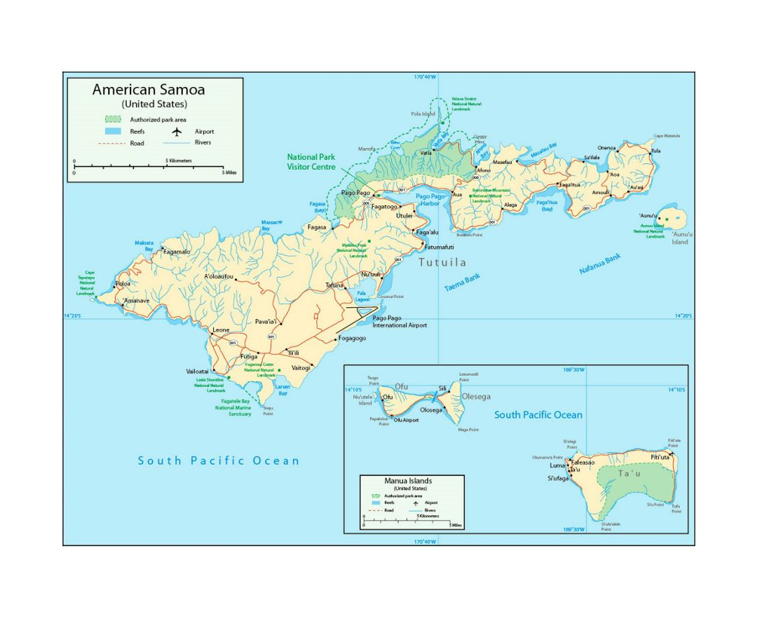 detailed map of american samoa with parks reefs rivers roads cities