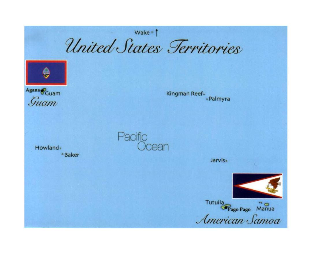 Detailed map of the United States territories with flags