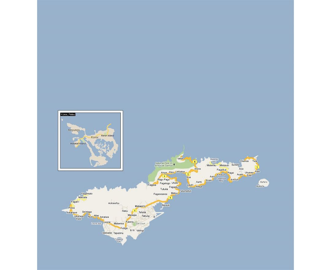 Detailed road map of American Samoa