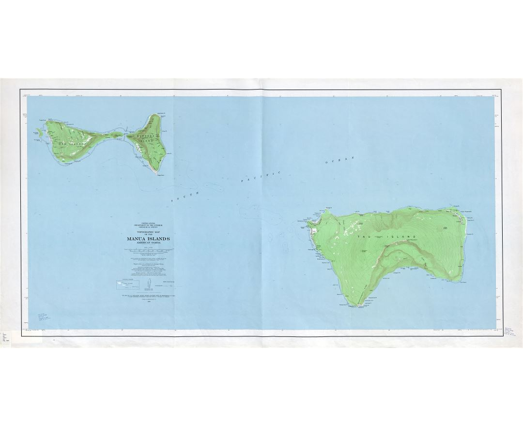 Large detailed topographical map of Manua Islands, American Samoa