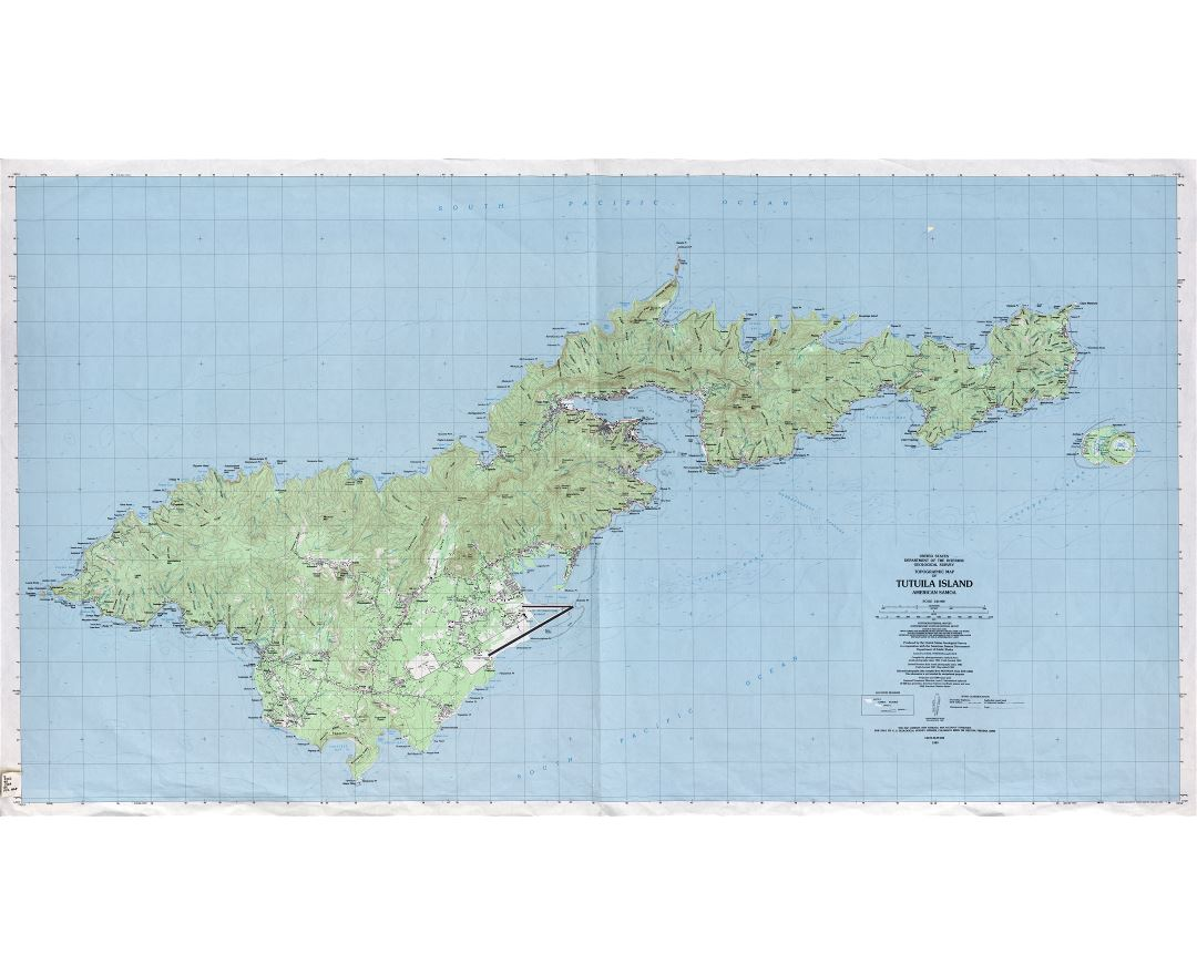 Large detailed topographical map of Tutuila Island, American Samoa