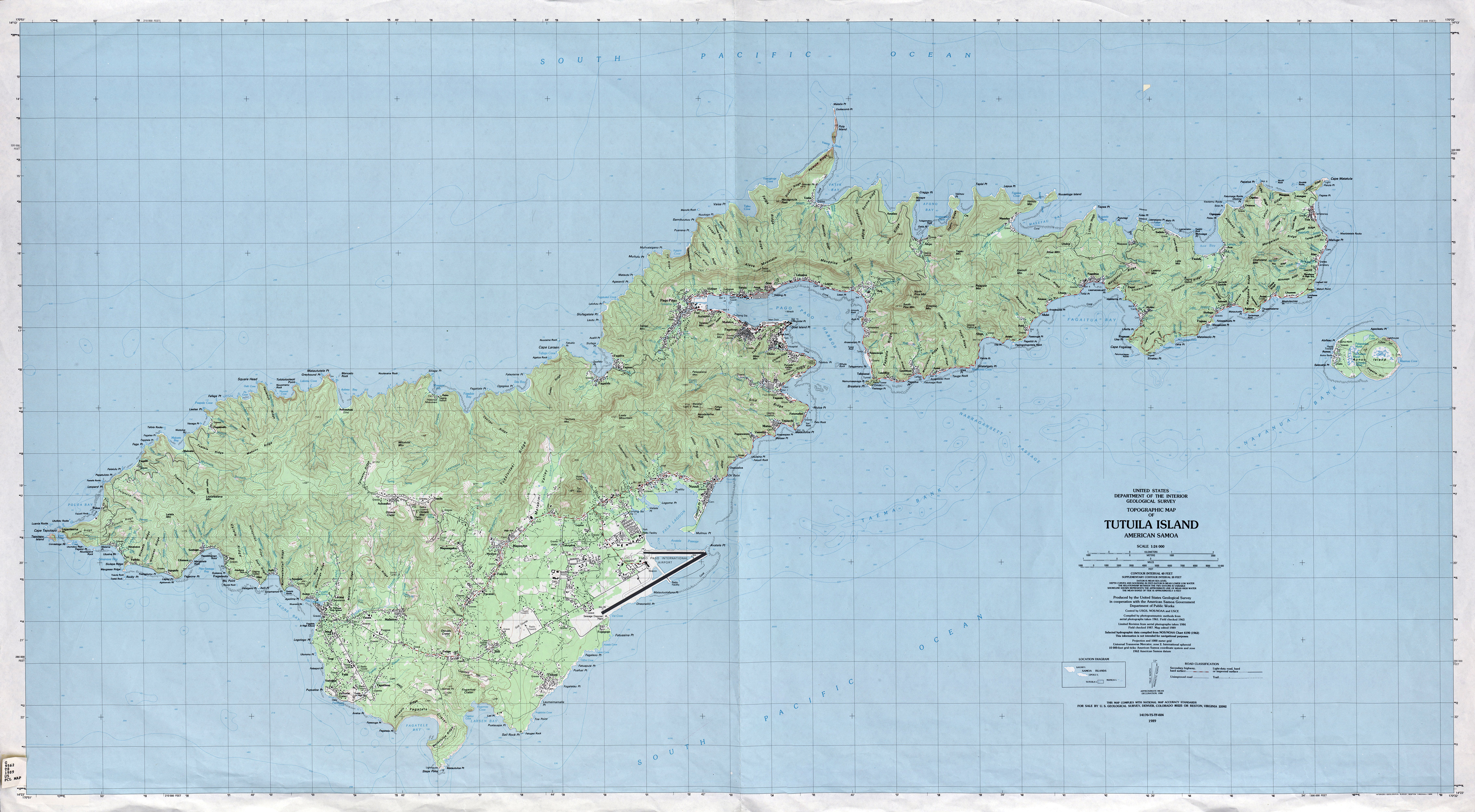 Large detailed topographical map of Tutuila Island American Samoa