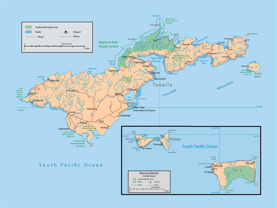 Large map of American Samoa with parks, reefs, rivers, roads, cities, villages and airports