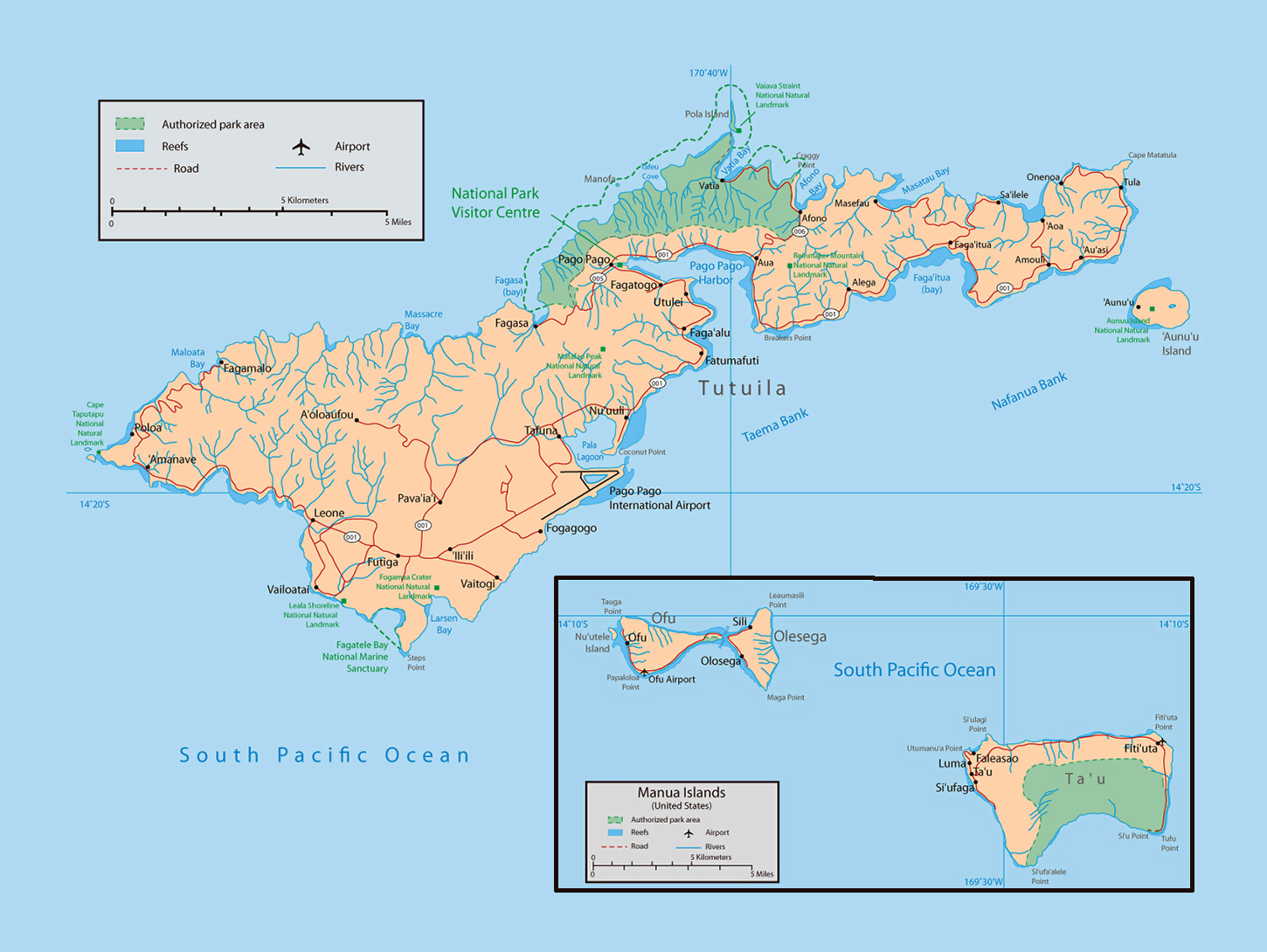 Large map of American Samoa with parks reefs rivers roads cities