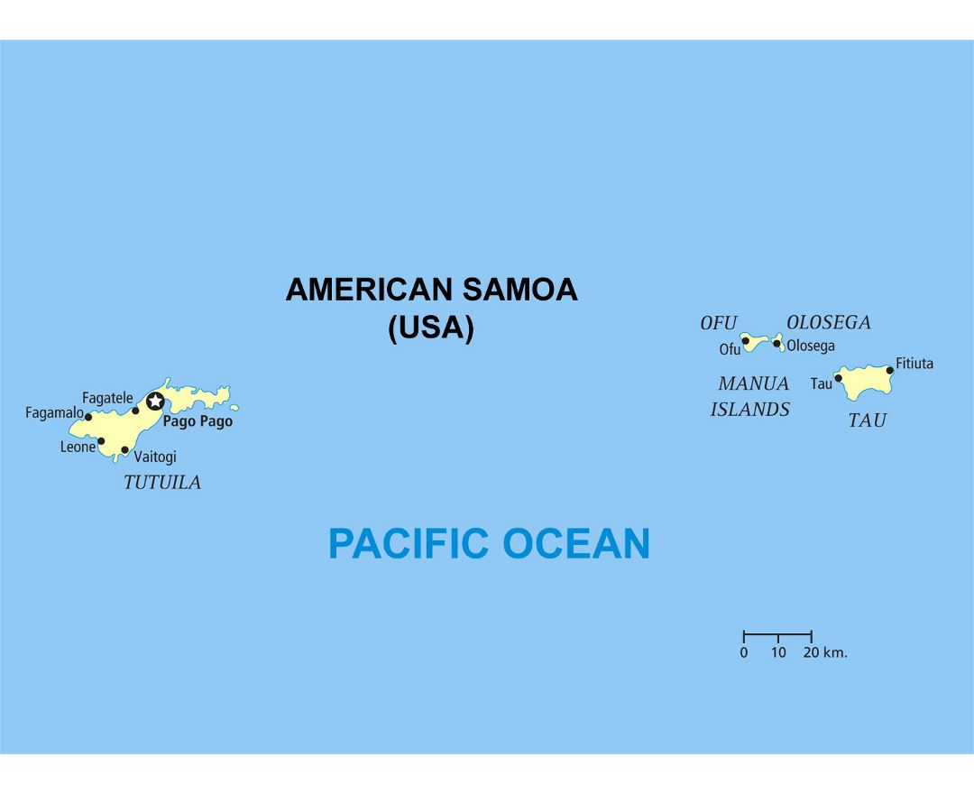 Large political map of American Samoa