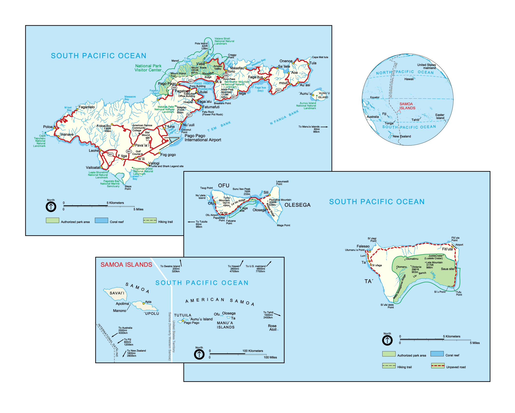 large political map of american samoa with other marks
