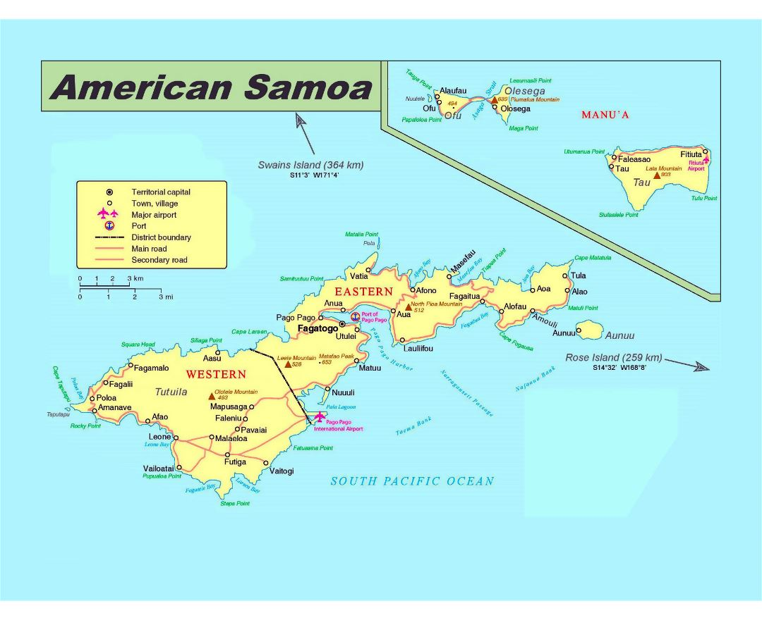 Large political map of American Samoa with roads, cities, villages, airports and ports