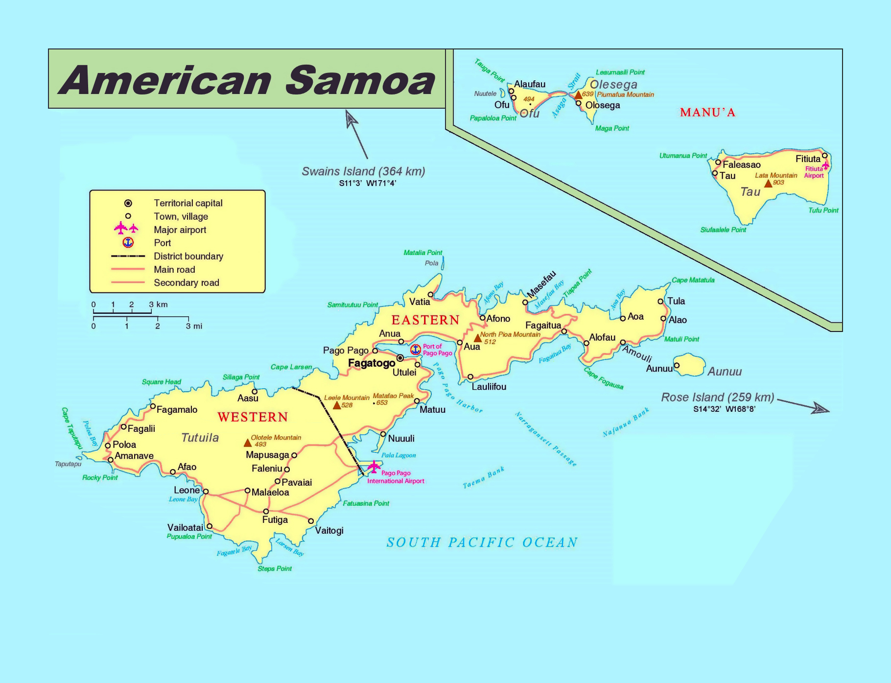 Large political map of American Samoa with roads, cities, villages ...