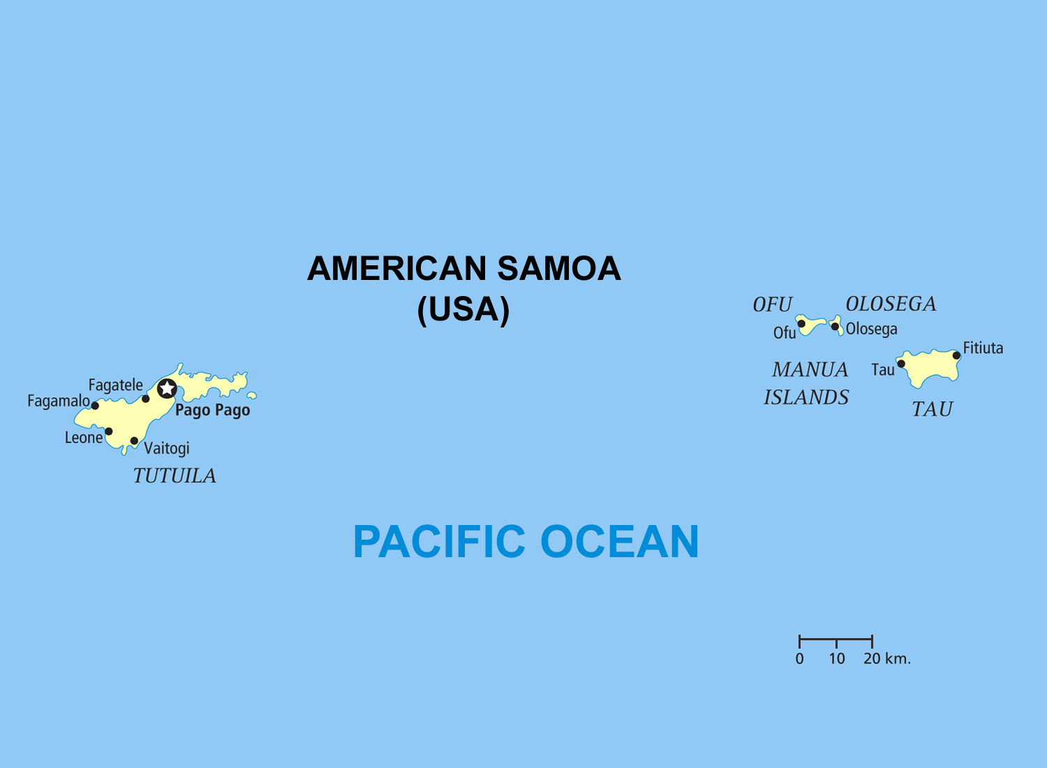Large political map of American Samoa American Samoa Oceania