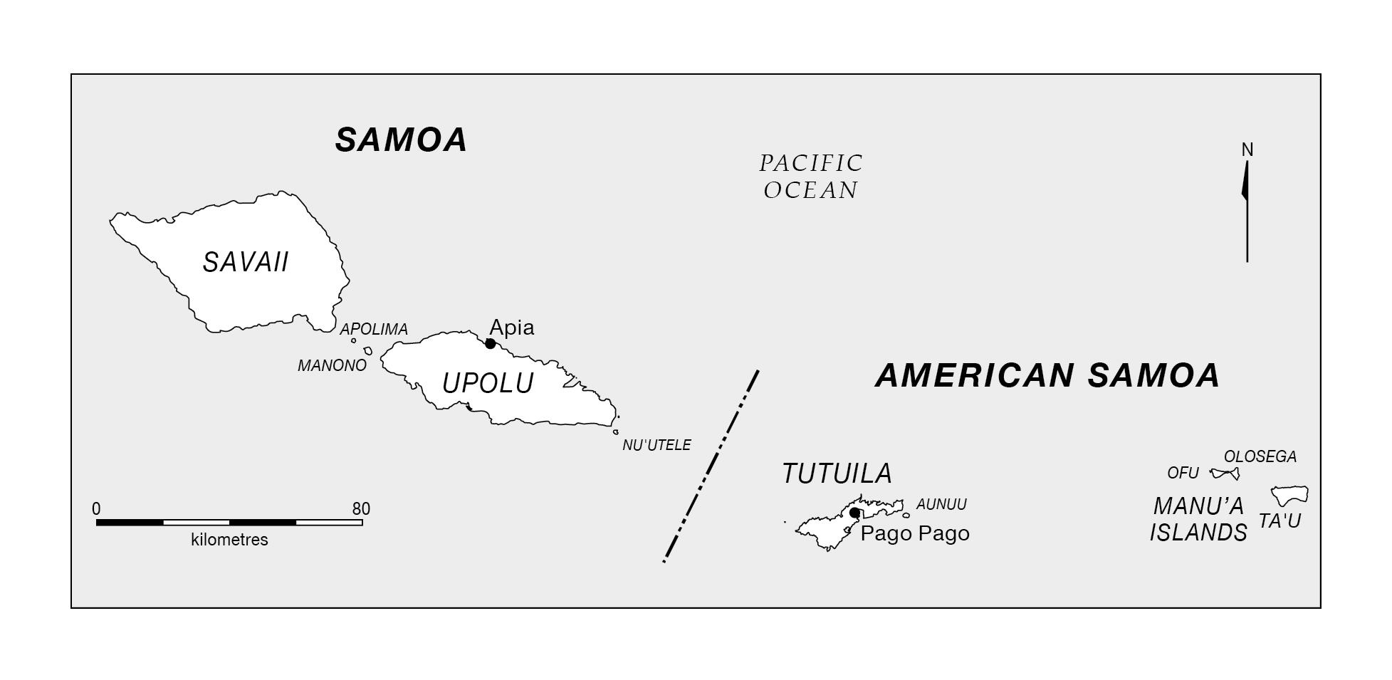 American samoa in world map on