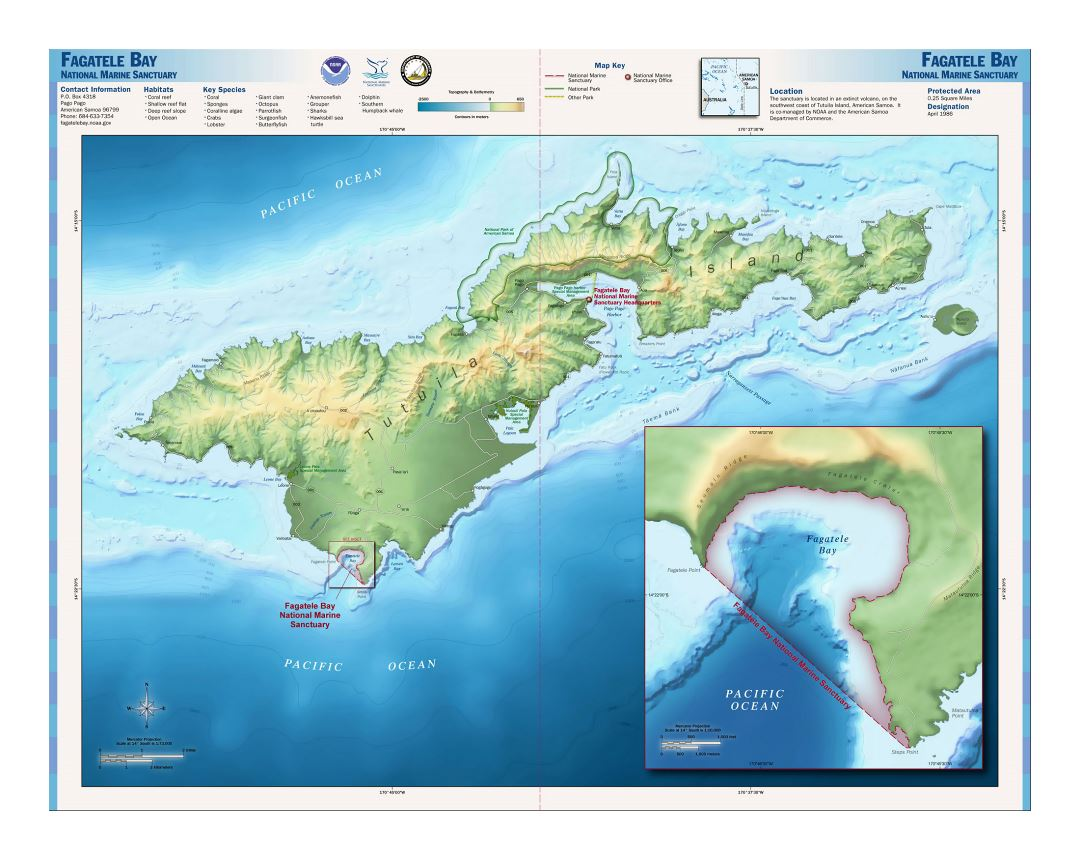 Large relief map of Tutuila Island, American Samoa