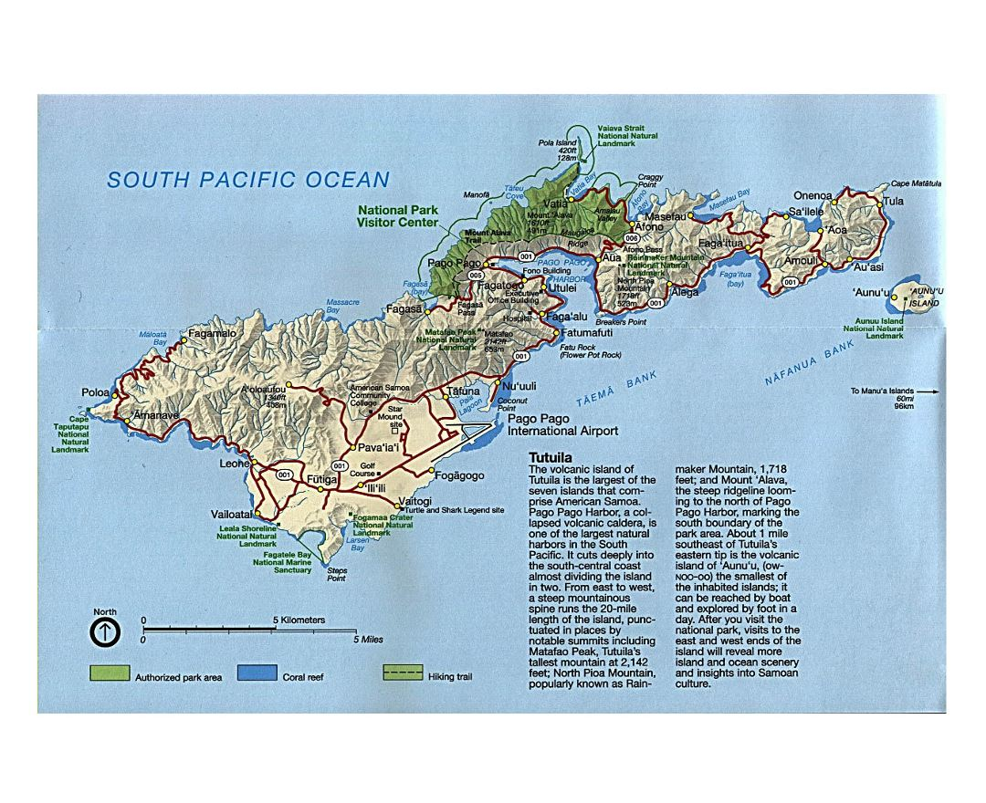 Large road map of Tutuila Island, American Samoa with relief and other marks