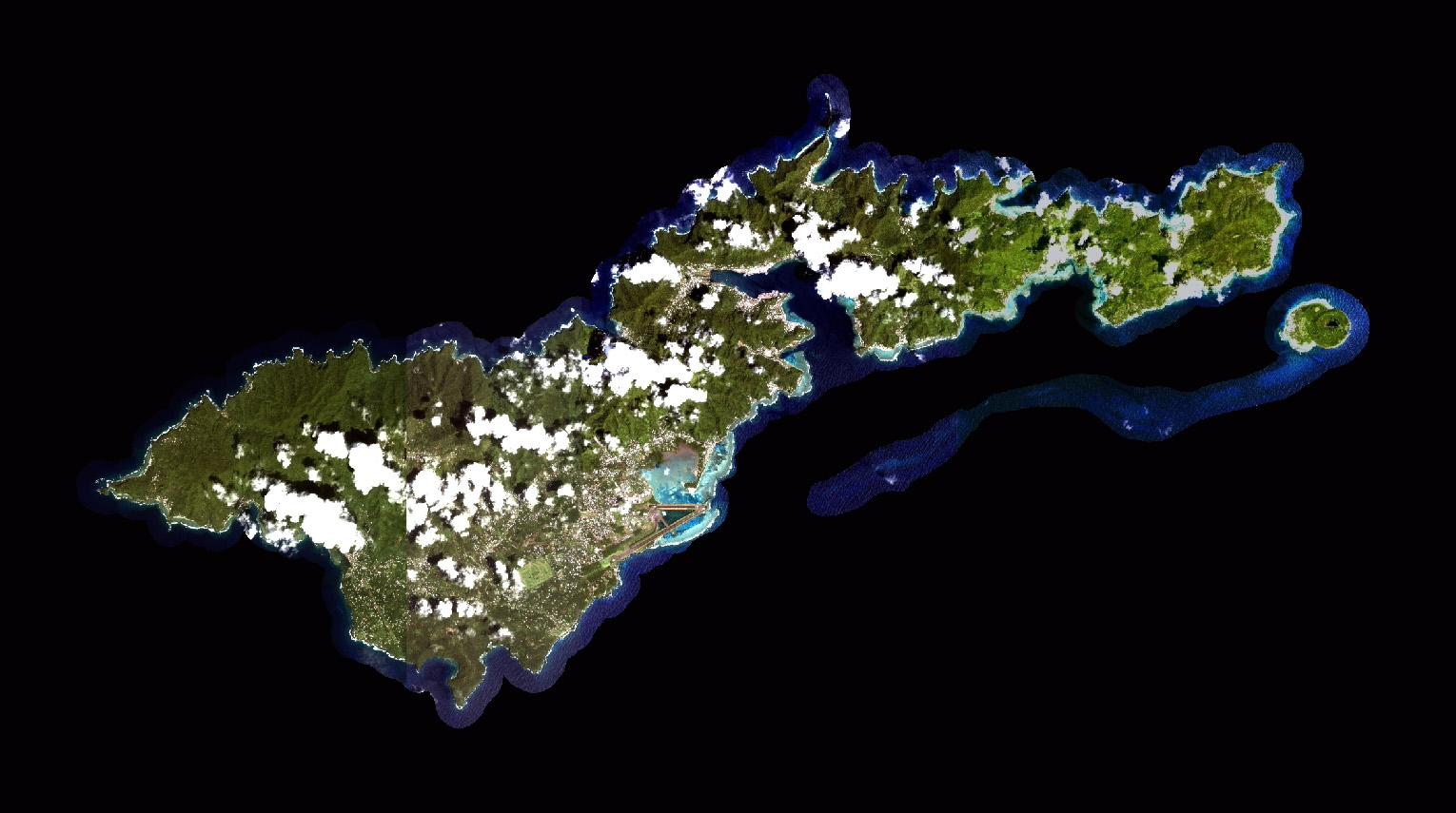 Large satellite map of Tutuila Island American Samoa American
