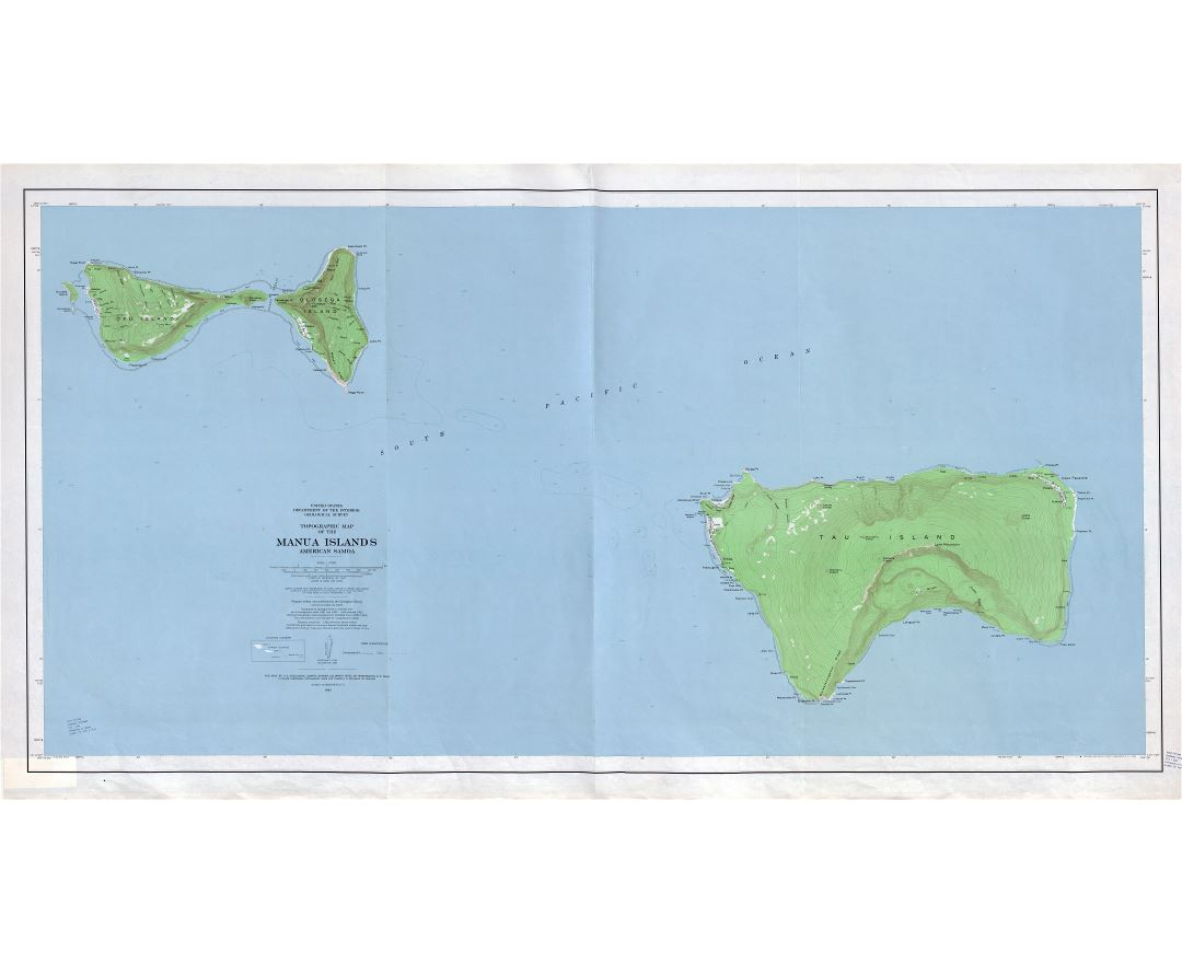 Large scale topographical map of Manua Islands, American Samoa with other marks - 1963